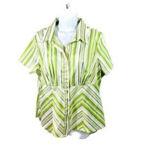 Cato Striped Short Sleeve Blouse Button Top Sz XL